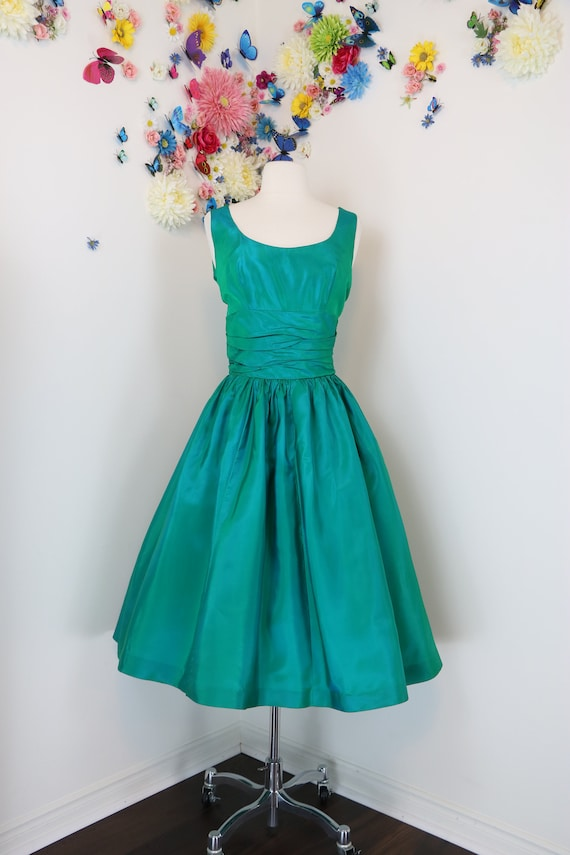 Vintage 1950s Fit & Flare Dress - Iridescent Green