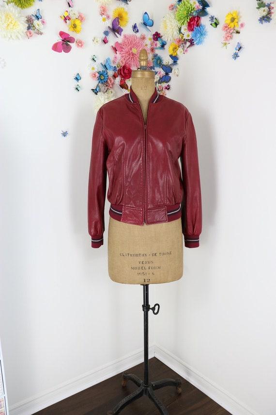 Red Leather Bomber Jacket DANIER - 1980s Vintage L