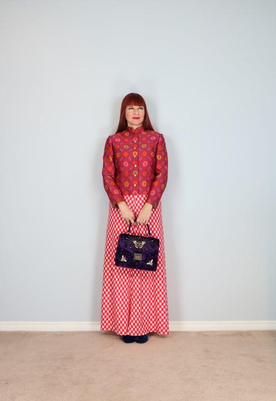 1960s 70s Jacket - Asian Cheongsam Red Jacquard Pa