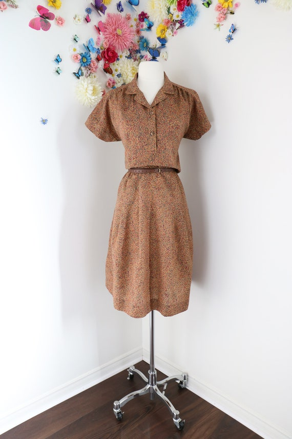 Vintage 40s Floral Shirt Dress - Handmade 1940s Ho