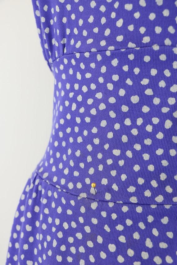 Vintage 80s Sheer Dolman Sleeved Polka Dot Wiggle Dress