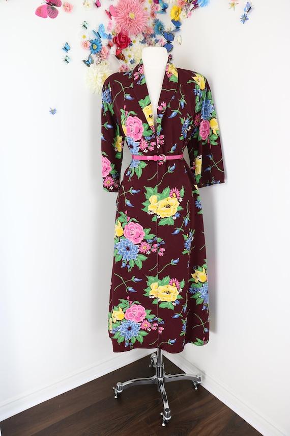 Vintage 30s 40s Floral Shift Dress Caftan - House