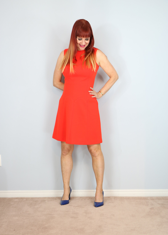 33ad18c8001e Vintage 1950 60s Orange Fit   Flare Knit Dress Scalloped