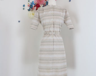 1960s Vintage Day Dress - Geometric Stripe - Shirt Dress - Medium - Midi - Short Sleeve - Belted - Modest Office Appropriate - Mad Men Style