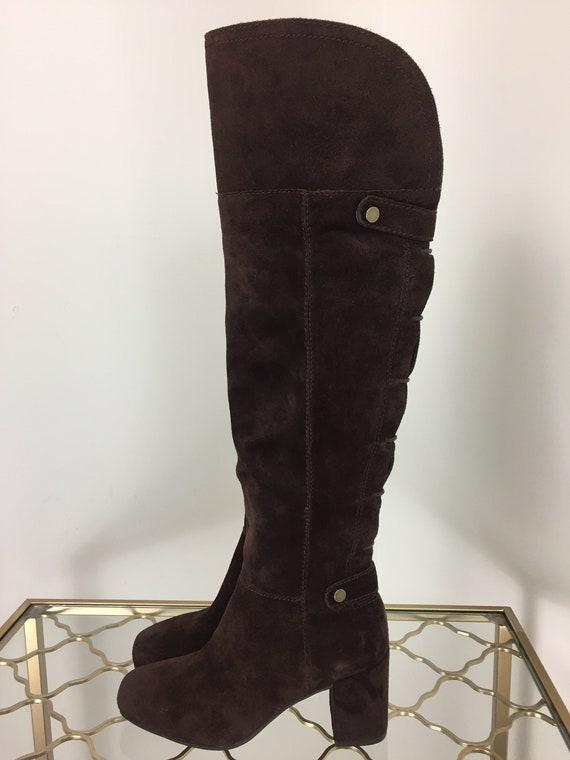 74f791aeee2 Vintage 1990s Dark Brown Suede Boots OTK Size 5.5 US 35.5