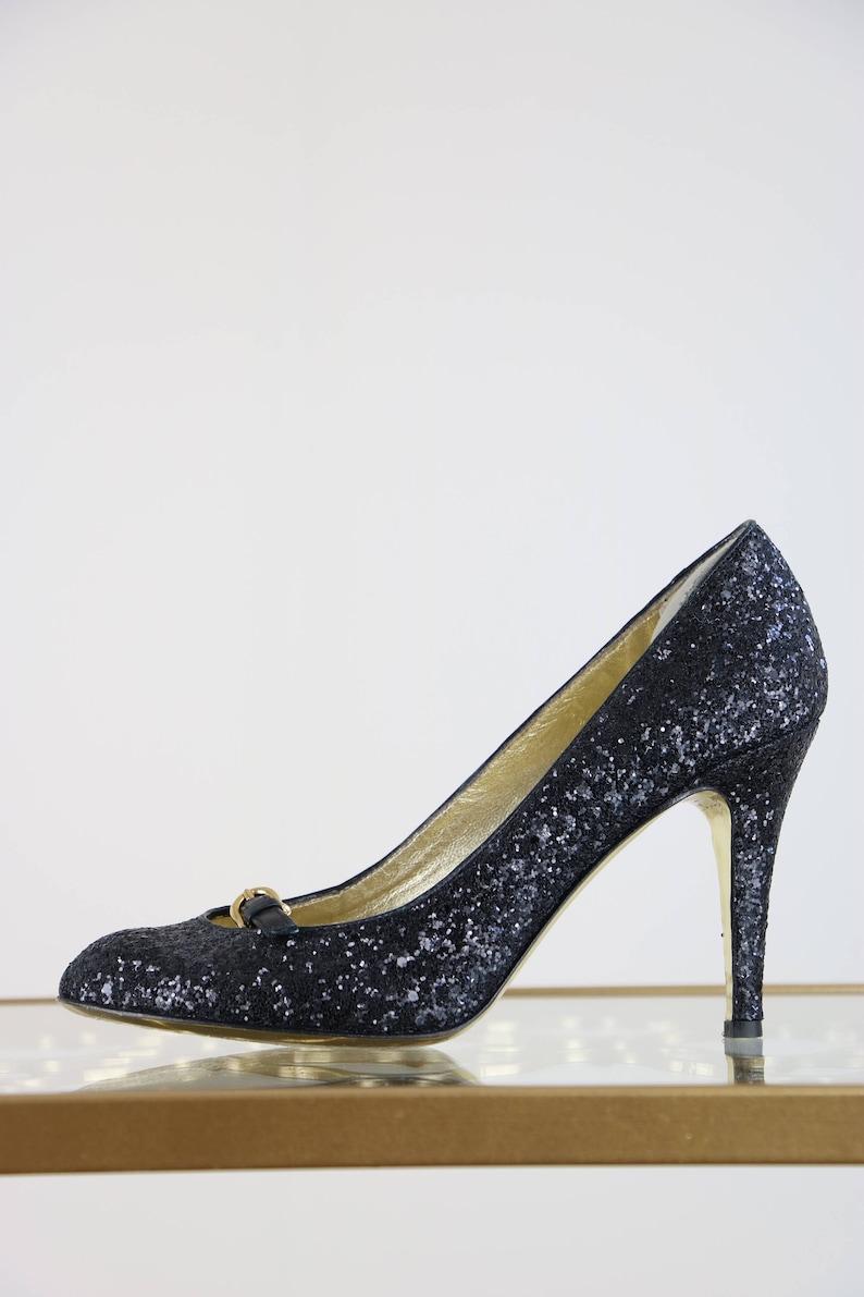 81fcdf6425c36 1990s Sequin Pumps Black Juicy Couture High Heels