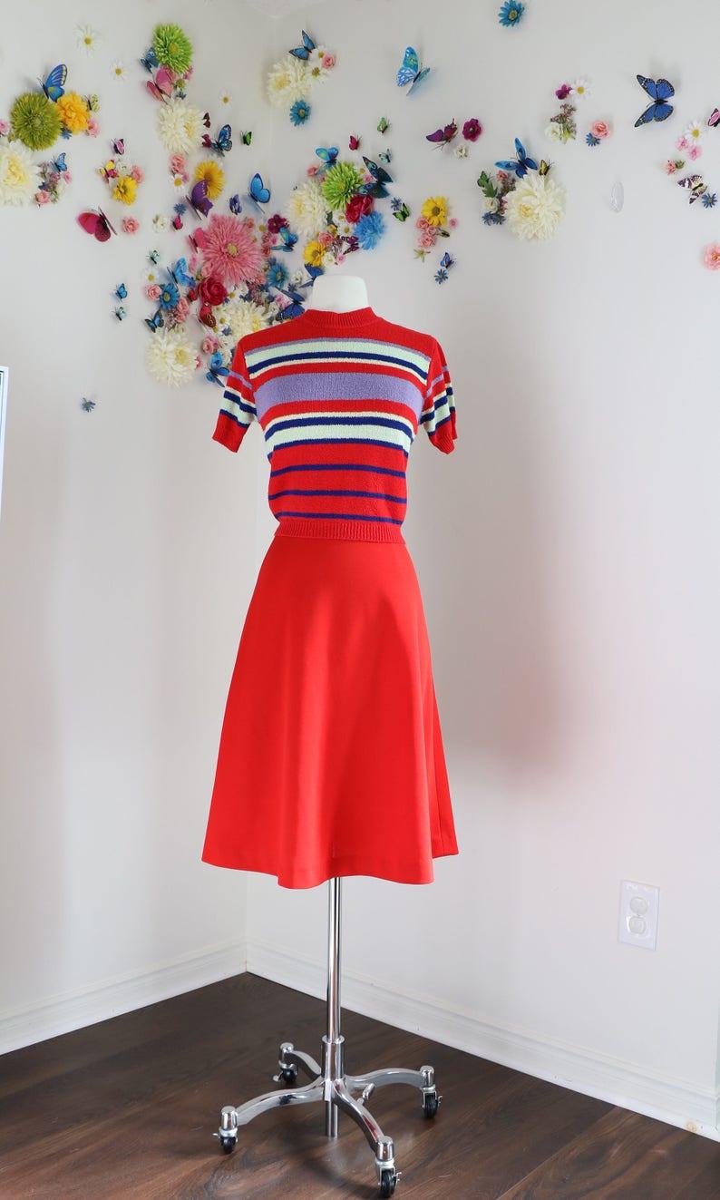 71d4a32bb 1950s A-line Skirt Midi Red Full Flare Skirt   Etsy