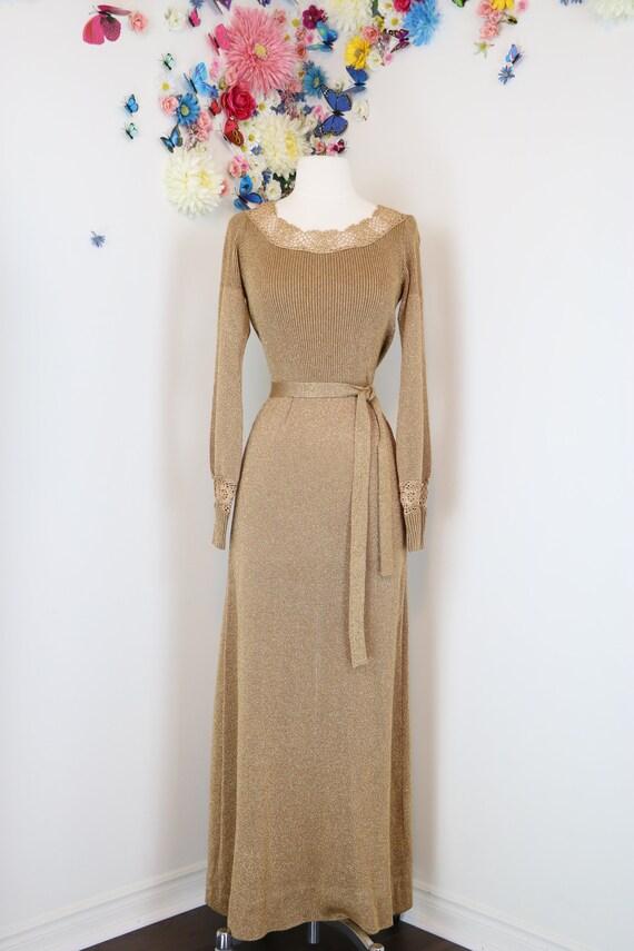 1970s Metallic Gold Knit Maxi Dress - Lurex - Medi