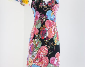 1990s Dress - Vintage Colourful Graphic Floral Midi Shift Dress - S/M - Boho - Hippie - Spaghetti Straps - Summer Spring - Vacation