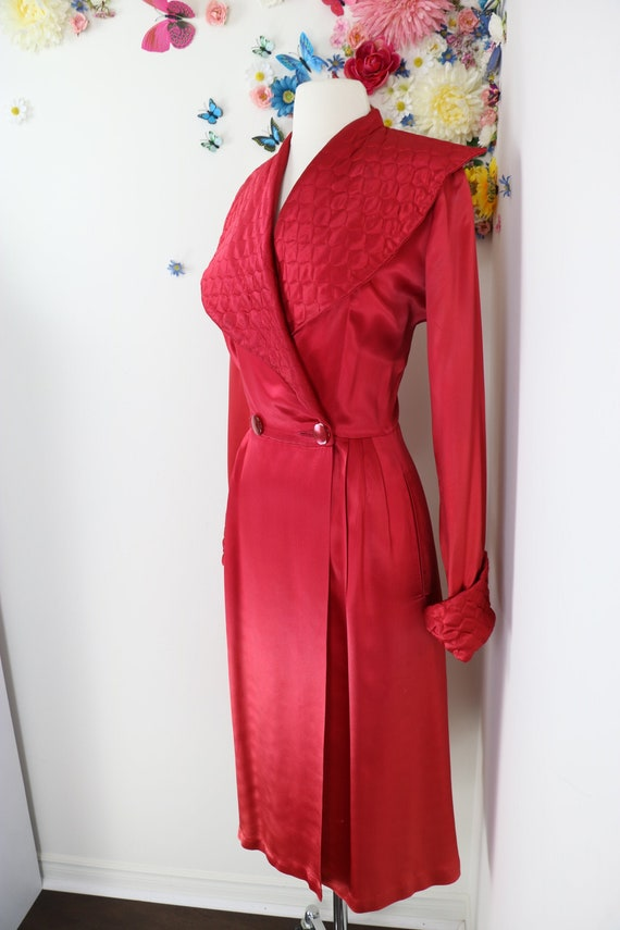 Vintage 1940s Liquid Satin Robe Dressing Gown - 40