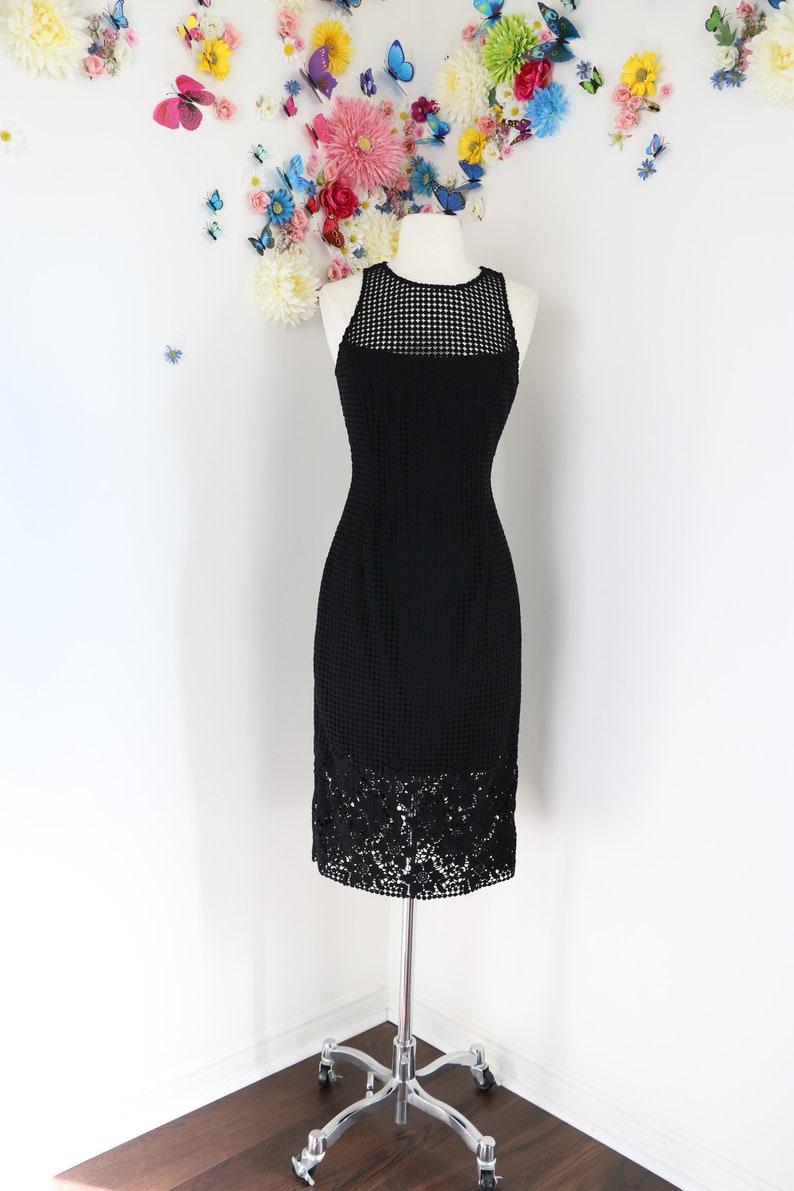 1a0b4471d78 Vintage 1990s Black Dress LBD Floral Lace Polka Dot