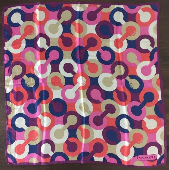 Vintage COACH Silk Scarf - Designer Large Square H