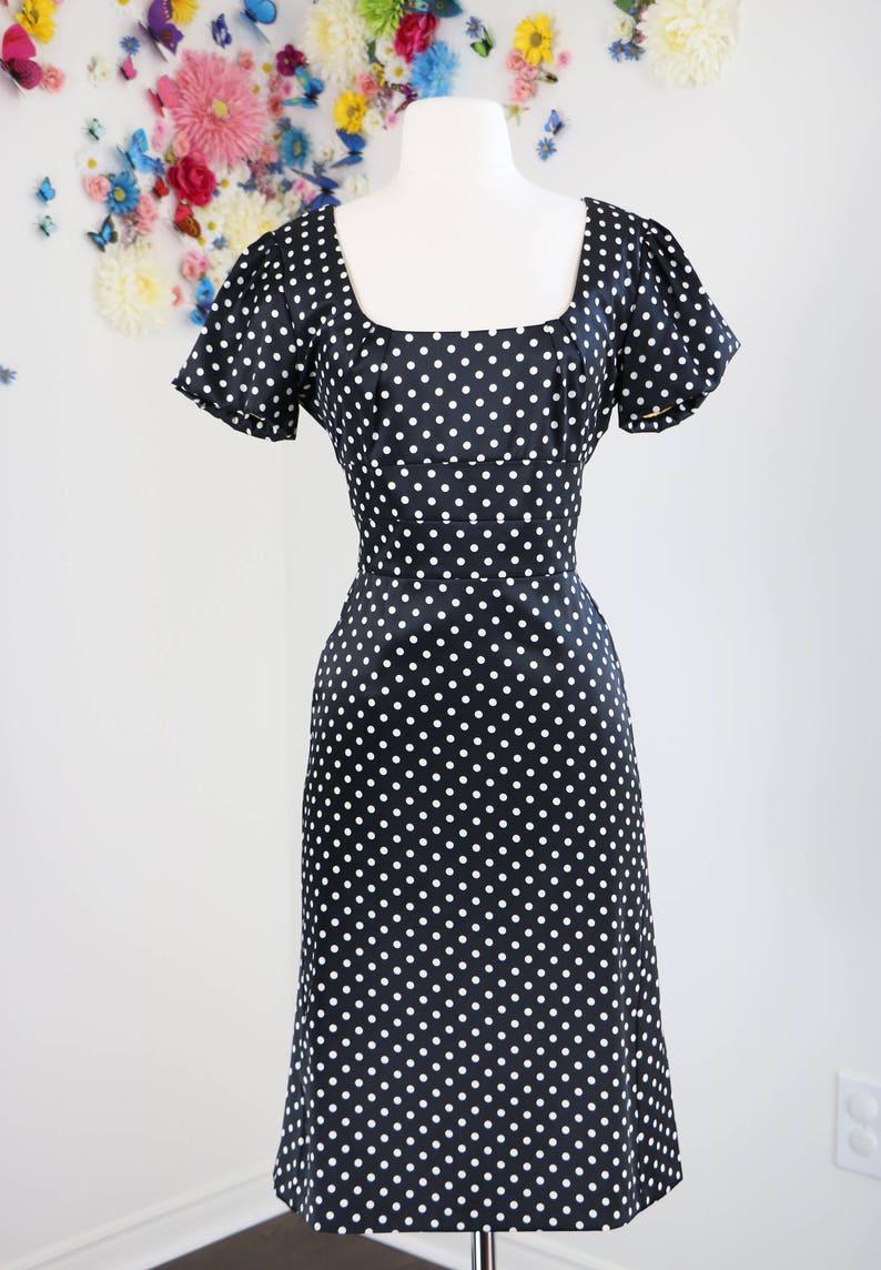 a42dda88fbe 90s Does 1950s Dress - Polka Dot Midi Dress - Black White Polkadot - Short  Sleeve Wiggle Dress - Vintage Pin Up - Size Small Medium