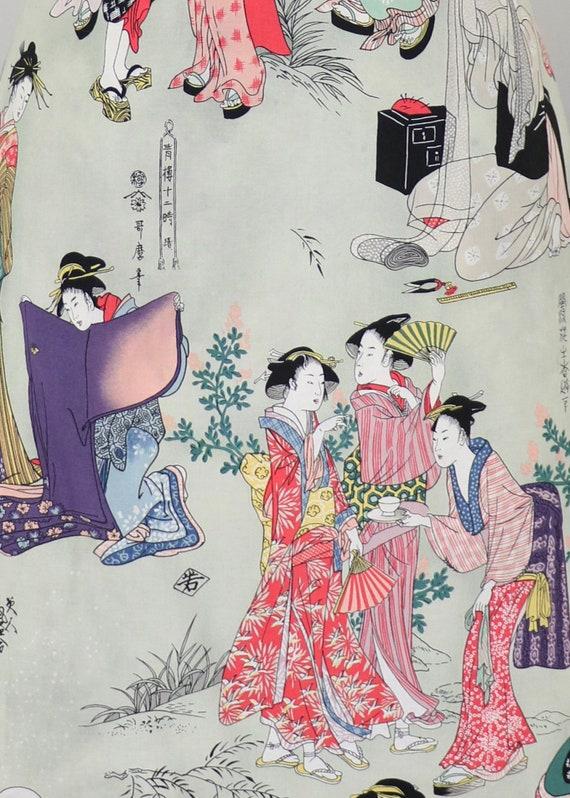 Vintage Novelty Print Japanese Geisha Skirt - Smal
