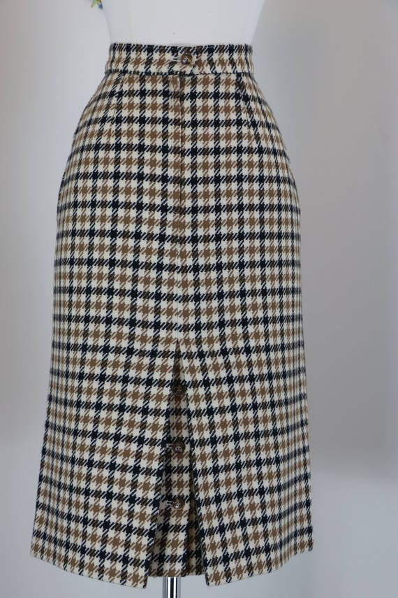 80s Does 1960s Skirt Plaid Midi Pencil Skirt Austin Reed Etsy