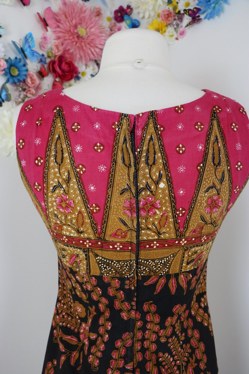 Graphic Print Hippie Boho Vintage 60s Indian Batik Maxi Cotton Dress Summer Spring XSS  28 Waist 32 Bust Sleeveless Midi