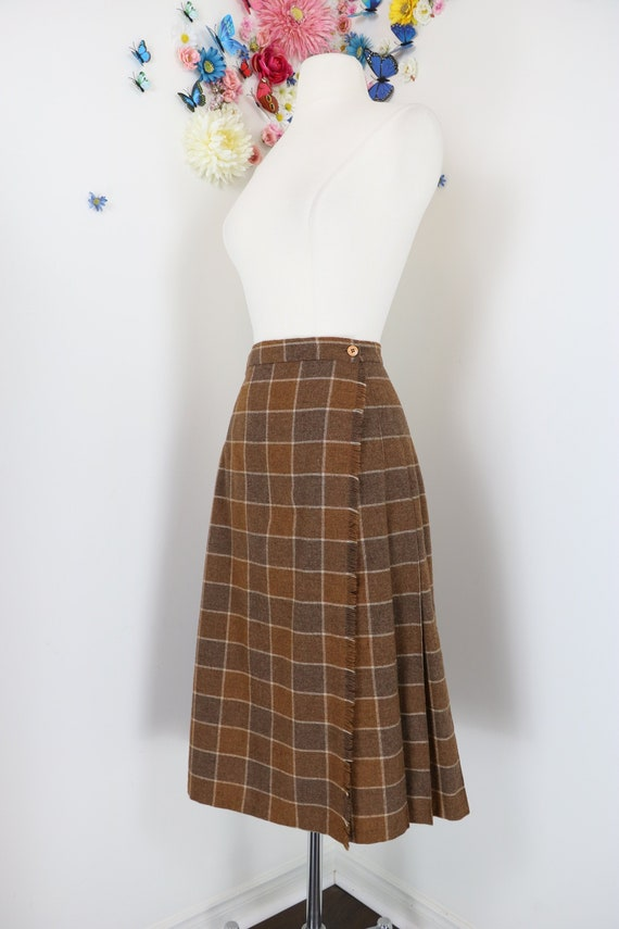 13a880e89 Vintage 1950s 60s Skirt Brown Plaid Wool Midi A-line | Etsy