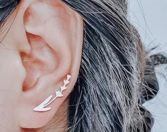 Silver Lavender Earrings, Dainty Flower Earrings, Minimalist Nature Earrings, Lavender Jewelry Christmas Gift for Women