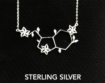 Serotonin Necklace, Molecule Necklace, Serotonin, Medical Student Gift,  Science Necklace, Chemistry Necklace, Silver Necklace, Gift