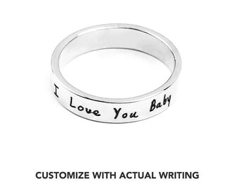 Sterling Silver Promise Ring For Her, Personalised Ring, Secret Message Ring, Engraved Ring, Handmade, Hidden Message, Girlfriend Gift