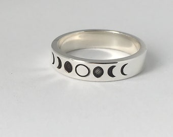 Moon Phase Ring, Moon Phase Jewelry, Moon Phase, Moon Ring, Sterling Silver Ring, Stacking Rings, Dainty Ring, Silver Moon Ring, Simple Ring