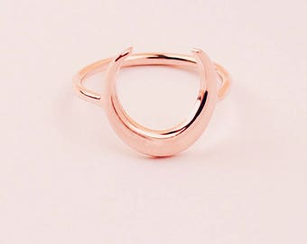 Moon Ring, Crescent Moon Ring, Boho Ring, Statement Ring, Simple Ring, Moon Jewelry, For Women, Moon, Rose Gold, Luna Ring, Sterling Silver