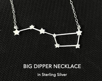 Big Dipper Sterling Silver Necklace, Big Dipper Jewelry, Ursa Major Necklace, Gift For Women, Constellation, Celestial, Simple, Everyday