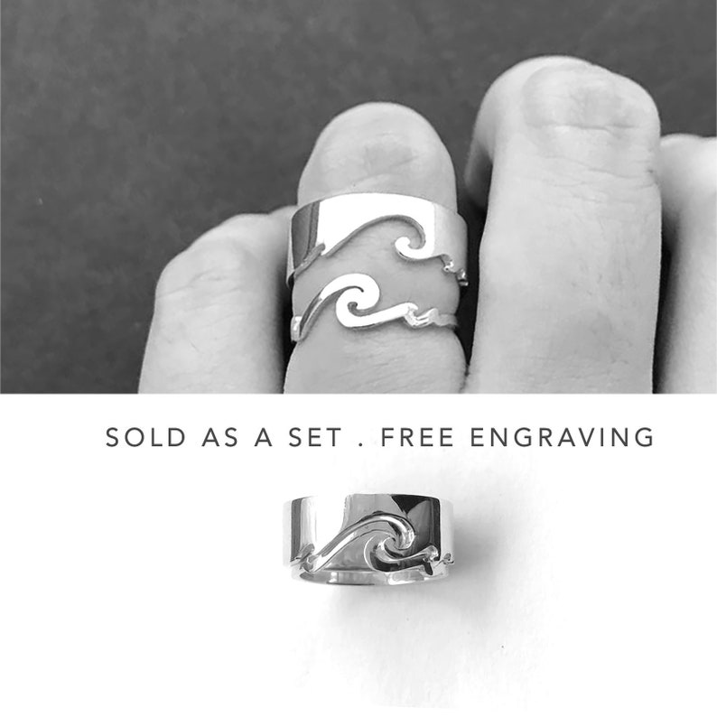 Wave Matching Rings For Couples Promise Rings His And Hers image 0