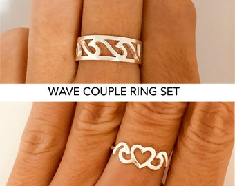 His and Her Promise Rings, Promise Rings For Couples, Couples Ring, Promise Ring, Wedding Ring Set, Engraved Ring, Personalized Ring