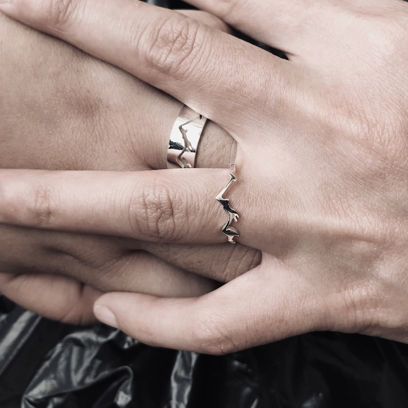 Mountain Matching Promise Ring Set His and Hers Ring ...