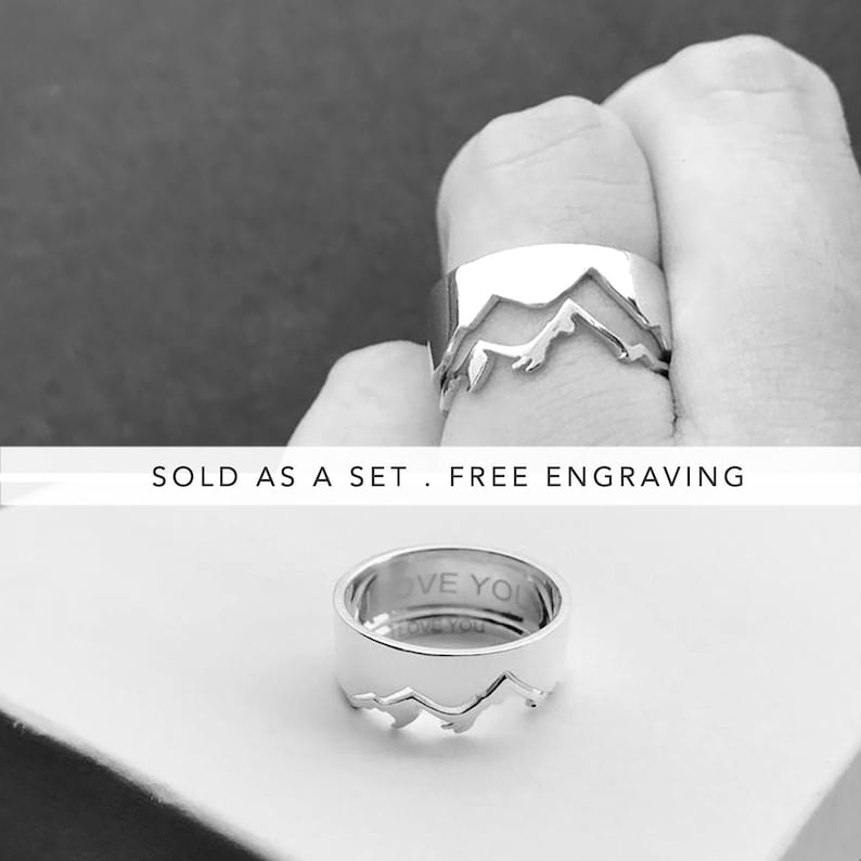 79e45e638629a Mountain Matching His and Her Promise Rings For Couples, Couple Ring Set,  Couples Jewelry, Wedding Bands Set, Promise Ring Set, Engraved