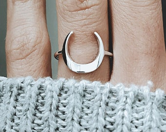 Silver Moon Ring, Crescent Moon Ring, Simple Boho Ring, Statement Ring, Moon Jewelry For Women Christmas Gift