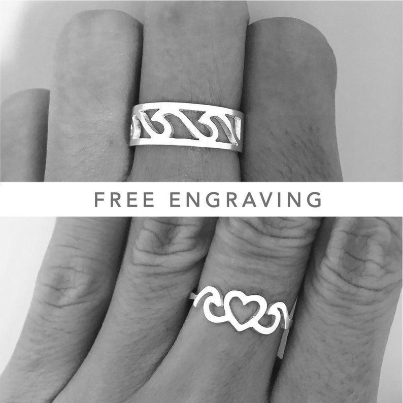 fc07aeb0c5 Waves Couples Ring His And Her Promise Rings Promise Rings   Etsy