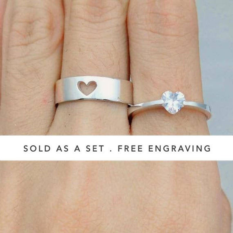 Couple Ring Set Promise Rings For Couples His And Her image 1