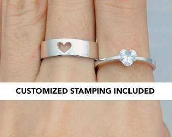 Couple Ring Set, Promise Rings For Couples, His And Her Promise Rings, Promise Ring, Wedding Ring Set, Promise Ring, Couple Rings, Heart