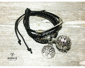 Leather bracelet black essential oil diffuser tree of life - Jewelry Diffuser Essential oils Aromatherapy