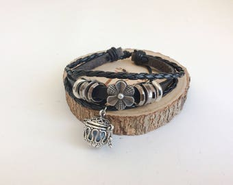 Black leather bracelet essential oil diffuser of Tibetan style women - Jewelry Diffuser Essential oils Aromatherapy
