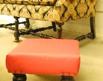 Red FAUX LEATHER Handmade footstool