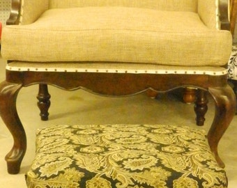 Black and Gold Handmade Footstool