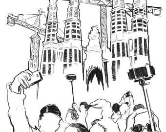 Day 1 Print: Cranes and crowds at la Sagrada Familia