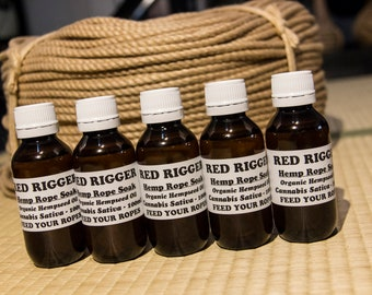 100ml Red Rigger Rope Soak - 100% Organic Camellia or Hemp Seed Oil - smooth - supple - pliable - jute and hemp - bondage - shibari -kinbaku