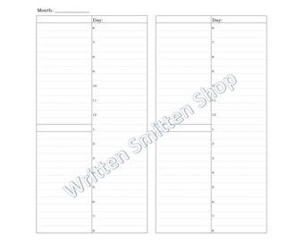 Regular/Standard Size-Day on One Page-Traveler's Notebook Insert-Printable Daily Planner-Undated