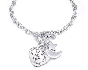 I Love You to the Moon and Back Silver Charm Toggle Bangle Bracelet