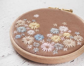 Botanical Hand Embroidery Wall Decor. Hand Embroidery Hoop Art. Luxurious Bridesmaid, Housewarming Gift. Home Wall Art. Velvet Meadow No.3