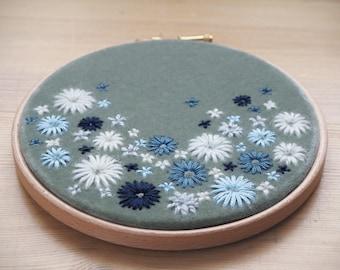Botanical Hand Embroidery Wall Decor. Hand Embroidery Hoop Art. Luxurious Bridesmaid, Housewarming Gift. Home Wall Art. Velvet Meadow No.6