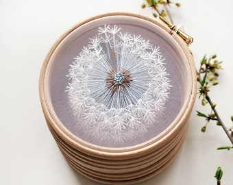Make a Wish Dandelion Tulle Embroidery Hoop Art - Bridesmaid, Housewarming Gift - Hand Embroidery by Velvet Meadow