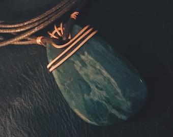 Green Jasper wrapped in Copper wire