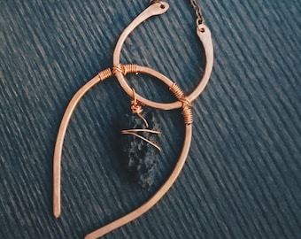 The Scarab: Lava (Igneous) Wire Wrapped Pendant