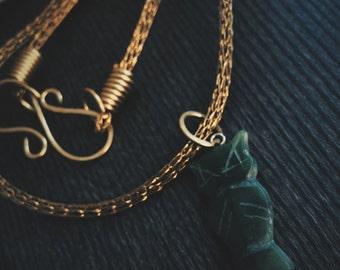 Viking Knit Brass with Vintage Jade Owl Pendant