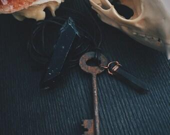 Antique Skeleton Key and Smoky Quartz Crystal Necklace with a piece Smoky Quartz for decoration!